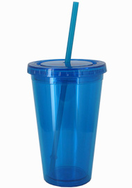 16 oz Aqua Blue journey travel cup with lid and straw