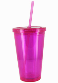 16 oz magenta journey travel cup with lid and straw