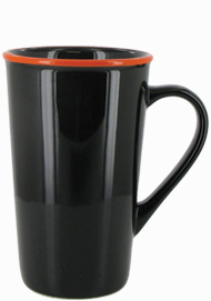16 oz Horizon Ceramic Mug, Black with Orange accent colored rim