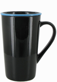 16 oz Horizon Ceramic Mug, Black with Sky Blue accent colored rim