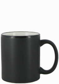 11 oz Hilo c-handle coffee mug - matte black out, White In