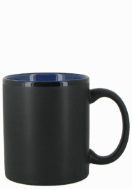 11 oz Hilo c-handle coffee mug - matte black out, Blue In