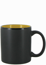 11 oz Hilo c-handle coffee mug - matte black out, Yellow In