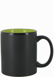 11 oz Hilo c-handle coffee mug - matte black out, Lime Green In