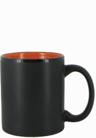11 oz Hilo c-handle coffee mug - matte black out, Orange In