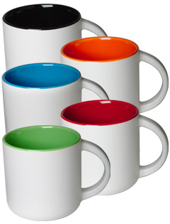 14 Oz Sedona 2 Tone Mug Matte White Exterior With Gloss Colored Interior
