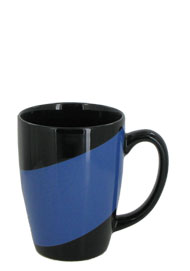 16 oz new haven challenger mug - black with blue accent band