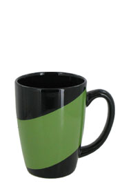 16 oz new haven challenger mug - black with green accent band