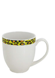 15 oz bistro coffee mug - white/leopard