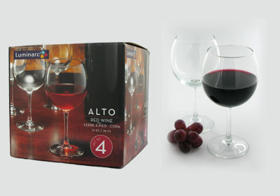 4-pc 12 oz alto red wine glasses
