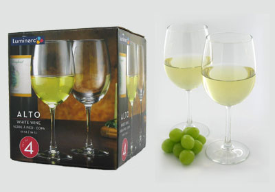 4-pc 12 oz alto white wine glasses