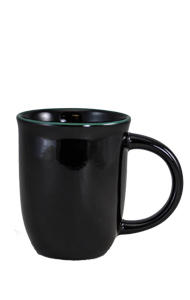 14 oz Salem Black Ceramic mug with Green accent color halo