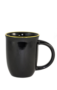 14 oz Salem Black Ceramic mug with Yellow accent color halo