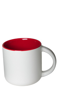 14 oz Sedona ceramic mug, 2-tone, Matte white out and Gloss red interior