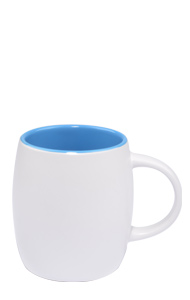14 oz Vero ceramic mug, 2-tone, Silk white out and Gloss blue  interior