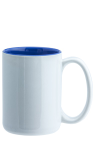 15 oz el grande two-tone ceramic mug - white out gloss blue in