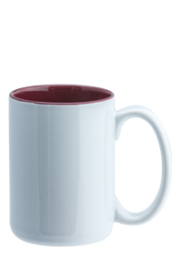 15 oz el grande two-tone ceramic mug - white out gloss maroon in