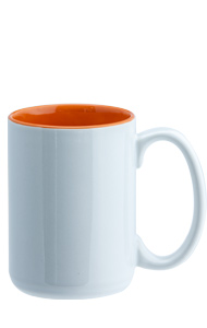 15 oz el grande two-tone ceramic mug - white out gloss Orange in