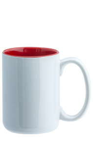 15 oz el grande two-tone ceramic mug - white out gloss Red in