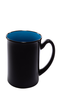 16 oz Marco two-tone ceramic mug - black gloss out with sky blue interior