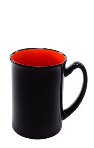 16 oz Marco two-tone ceramic mug - black gloss out with orange interior