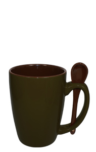 16 oz Olive Green Reading Spooner Mug Chocolate Ceramic Spoon Inserted in Handle