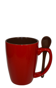 16 oz Crimson Red Reading Spooner Mug Chocolate Ceramic Spoon Inserted in Handle