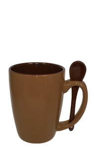 16 oz Russett Reading Spooner Mug Chocolate Ceramic Spoon Inserted in Handle