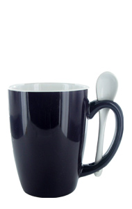 16 oz Cobalt Blue Out, White In Spooner Mug. White Ceramic Spoon Inserted in Handle