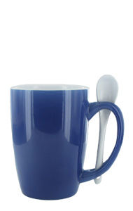 16 oz Purple Out, White In Spooner Mug. White Ceramic Spoon Inserted in Handle