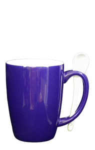 16 oz Celestial Purple Out, White In Spooner Mug. White Ceramic Spoon Inserted in Handle