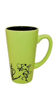16 oz Kiwi Green Vineland Ceramic Funnel Mug with embossed Vine Detail Design