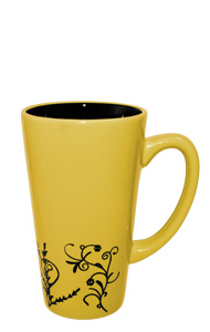 16 oz Banana Yellow Vineland Ceramic Funnel Mug with embossed Vine Detail Design