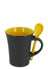 9 oz hilo mug with spoon - yellow