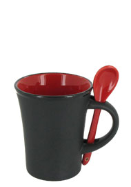 9 oz hilo mug with spoon - red