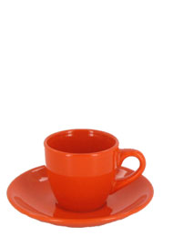 3.5 oz espresso cup with saucer - orange