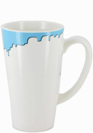 16 oz cody glossy funnel latte mug - white with blue drip accent