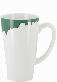 16 oz cody glossy funnel latte mug - white with green drip accent