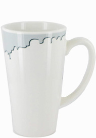 16 oz cody glossy funnel latte mug - white with gray drip accent