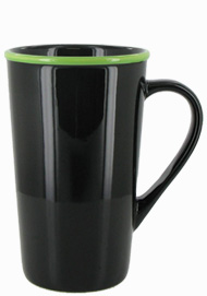 16 oz Horizon Ceramic Mug, Black with Lime Green accent colored rim