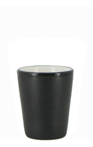 1.5 oz ceramic shot glass - Black matte out, White gloss in
