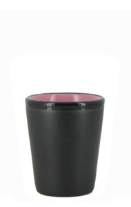 1.5 oz ceramic shot glass - Black matte out, Pink gloss in