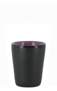 1.5 oz ceramic shot glass - Black matte out, Lilac gloss in