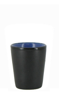 1.5 oz ceramic shot glass - Black matte out, Blue gloss in