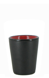 1.5 oz ceramic shot glass - Black matte out, Red gloss in