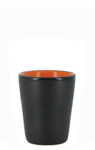 1.5 oz ceramic shot glass - Black matte out, Orange gloss in