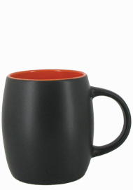 14 oz Robustot matte finish mug - black/orange