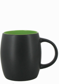 14 oz Robustot matte finish mug - black/lime green