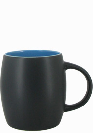 14 oz Robustot matte finish mug - black/sky blue