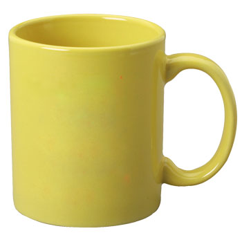 11 oz c-handle coffee mug - yellow